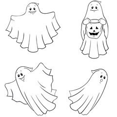 ghost icons coloring Page collection