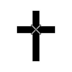 Cross icon, Christianity religion symbol - Vector