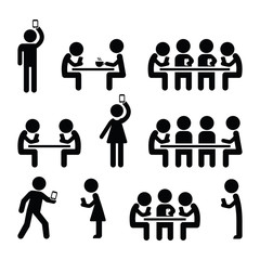 People on smartphones, walking and playing games, taking selfies icons