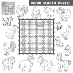 Vector colorless crossword about farm animals. Word search puzzl