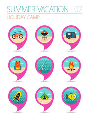 Summer camping pin map icon set. Holiday