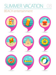 Beach entertainment pin map icon set. Vacation