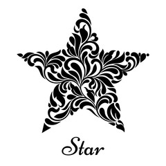 Star created from abstract flower ornament isolated on a white background.