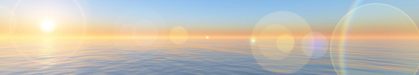 panorama of sea sunset. ocean sunrise. banner