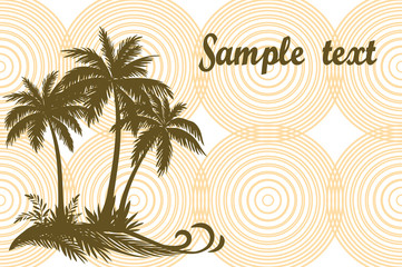 Tropical Landscape, Palms Trees and Grass Brown Silhouettes on Background with Rings. Vector