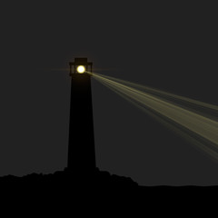 Lighthouse silhouette at night. Vector illustration, eps 10.