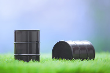 Oil barrels in the grassland