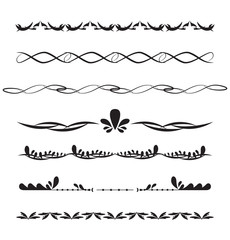 Vector illustration of decorative border set.