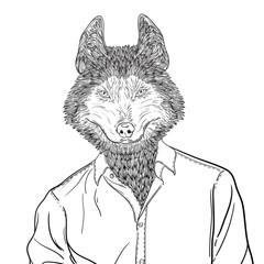 Sketch of head Husky Dog or wolf. Vector Illustration