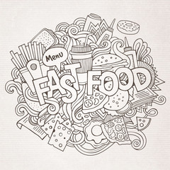 Fast food hand lettering and doodles elements