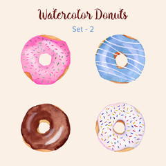 Watercolor donut set isolated on a light background. Hand painted donuts. Isolated sweet sugar icing donuts. Glazed donuts collection. Donut icons collection. Donuts with glaze and sprinkles. Vector.