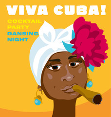 cuban woman face. cartoon vector illustration for music poster.