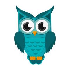 flat design owl cartoon icon vector illustration