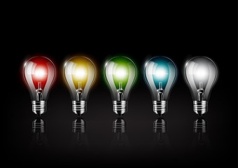 Colorful light bulb is glowing on black background , concept idea , Transparent Vector