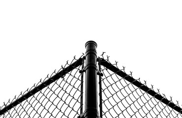 Abstract black chain link fence with white sky background. Black metal chain fence. Chrome steel chain fence, Symmetrical design. Industrial design. Industrial fence. Black and white. Steel frame.