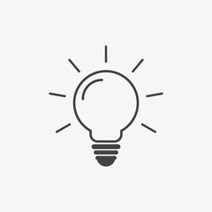 Vector gray bulb icon on the white background.