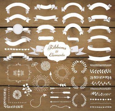 Vector White Hand Drawn Design Elements and Ribbon Set