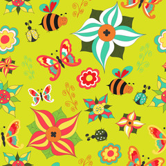 Floral seamless with butterfly, bee, ladybird and bush