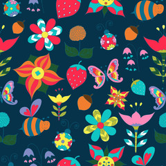 Floral seamless with butterfly, bee, ladybird and strawberry
