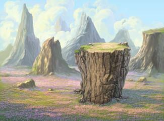 Big rock flower fields on mountain background illustration paint