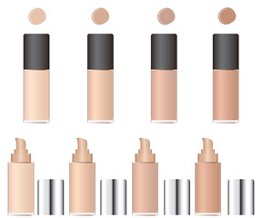 Shades of concealer. Glass packaging with a pump.