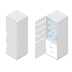Classic white home fridge. Flat isometric.