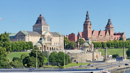 Wały Chrobrego w Szczecinie -Stitched Panorama