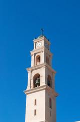 Israele, la città vecchia di Giaffa: vista del campanile della Chiesa di San Pietro il 31 agosto 2015