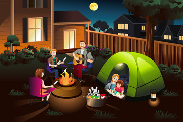 Family Camping in the Backyard