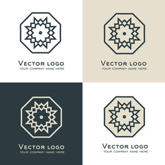 Set of vector abstract geometric logo. Celtic, arabic or aztec style. Sacred geometry icon. Brand identity