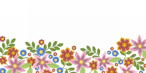 Floral background or banner with abstract flowers and leaves. Horizontal format.
