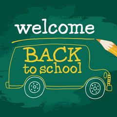 School bus On Chalkboard