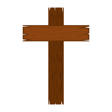 cross wood isolated icon