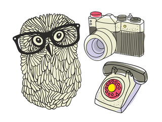 Set with hipster owl and equipment.
