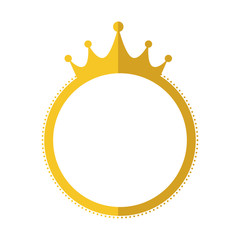 seal stamp crown gold label banner icon. Isolated and flat illustration. Vector graphic