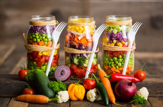 Fresh vegetable salad in a mason jar