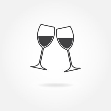 Two glasses of wine or champagne. Vector icon.