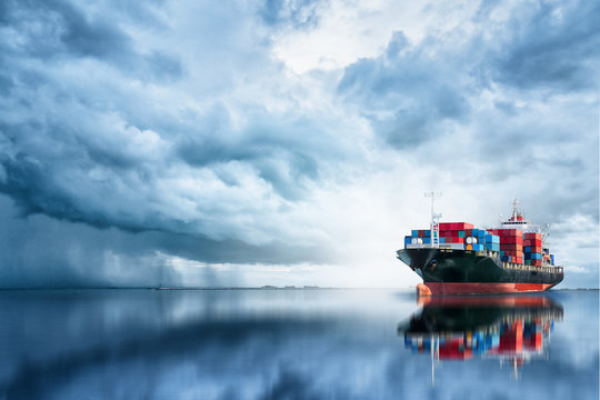 International Container Cargo ship in the ocean, Freight Transportation, Shipping, Nautical Vessel