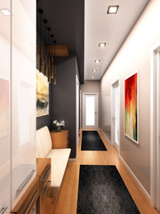home design interior with 3d render