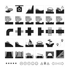 Vector set of road icon. Different dangers and troubles on the way: pit, bad asphalt, rut, crack, stones, open hatch, construction. And several types of crossroads.