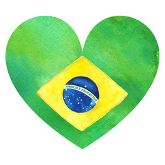 Watercolor Brazil Brazilian national flag. Order and progress.