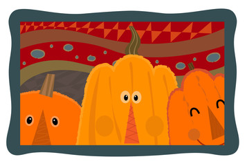 Pumpkin Design - Decorative design of three cute pumpkins on a textured background. Eps10