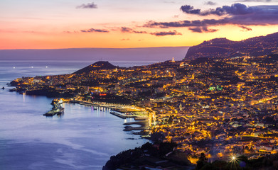 Aerial view of Funchal by night, Madeira Island, Portugal Fototapete