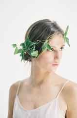 Portrait of woman wearing leaf crown