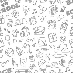 Back to school chalk doodles seamless pattern. Education element