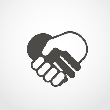 web icon of shaking hands. Digital application pictogram. Shakin
