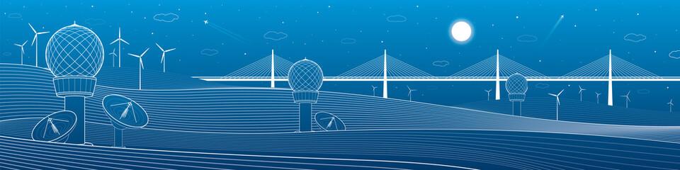 Weather Stations. Mountains landscape. Big bridge on horizon, windmills, wind force, energy and transportation illustration, vector design art