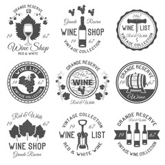 Wine Shop Black White Emblems