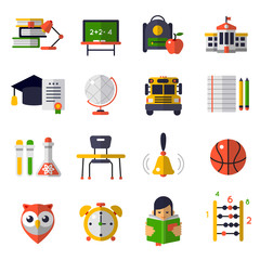 Basic Education Flat Icon Set