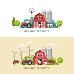 Farming background with barn, windmill, tractor, cows and sheep.  Organic products, farm fresh products concept. Vector illustration in flat style.